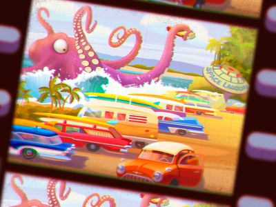 Space Surf Lagoon beach sea lagoon surf character design monster character octopus game art game design illustration artua