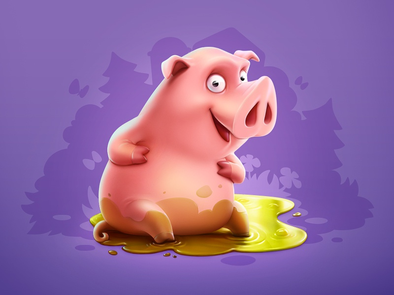 Piggy cartoon animal pig game art game design character design character illustration artua