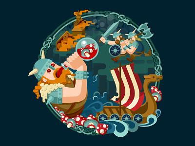 Vikings mushroom war human character vikings flat design flat game art game design illustration artua