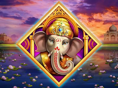 Indian motivs animal ios ux game ui design splash screen elephant india character design character game art game design illustration artua