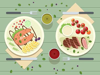 A dinner concept flat food plate cuisine meat dinner sketch design game game art game design illustration artua