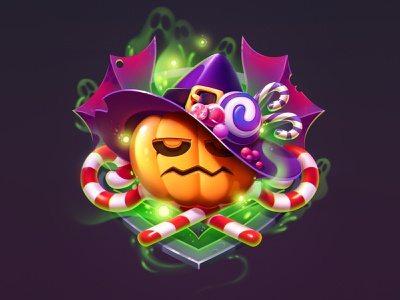 Happy Halloween 2018 V2.1 concept badge witch candy pumpkin halloween character design game game art game design character illustration artua