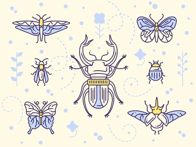 Between angels and insects beetle gang butterfly insect flat concept character design ios game game art game design character illustration artua