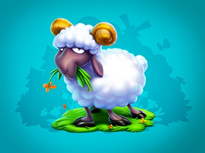 A sheep sheep slot design slot game slot concept animal character design design game ios game art game design character icon illustration artua