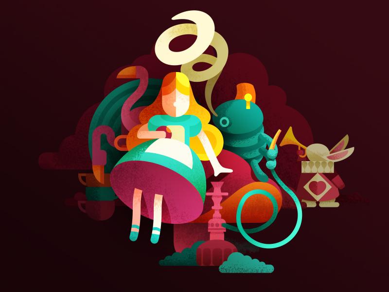 Who the F..k is Alice? wonderland rabbit alice aliceinwonderland flat animal concept human character design design game art game design character illustration artua
