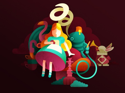 Who the F..k is Alice? wonderland rabbit alice aliceinwonderland flat animal concept human character design design game art game design character illustration artua