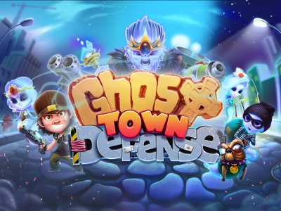 Ghost Tower Defense splash screen logo branding ui ghost town tower defense ghost splash screen human concept character design design app icon game ios game art game design character illustration artua