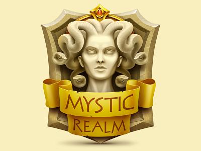 Mystical Realm gorgon statue badge sketch concept app icon design game game art game design icon illustration artua