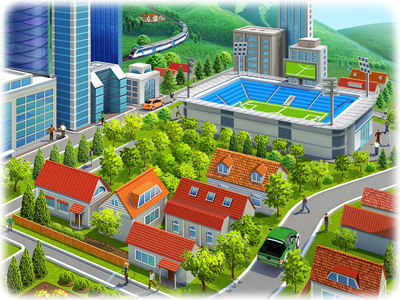 City Illustration  illustration city building ballon people human tree park road street stadium rock train car stage crowd plane parachute fountain bicycle skyscraper office artua