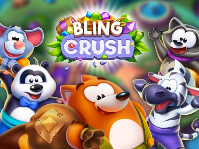 Bling Crush splash screen anthropomorphic casual game match 3 icon animal character design concept app icon design game ios game art game design character illustration artua