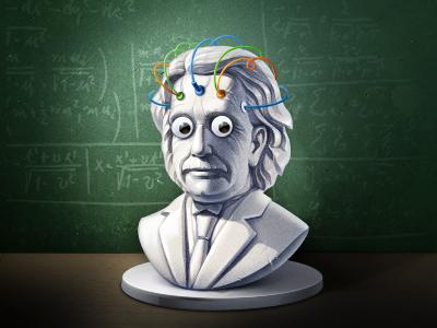 Another Einstein Illustration   icon illustration einstein physics sculpture artua