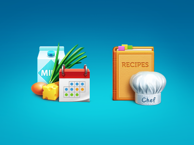 Coocking icons illustrations cooking food milk calendar onion cheese egg book artua