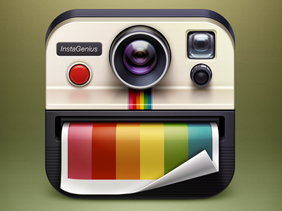 InstaGenius app icon app icon ui design icon illustration camera lens photo edit instagram artua