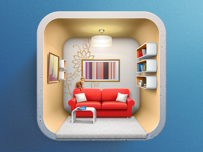 Icon for Interior design applicaion game art ui design game design artua icon ios illustration interior house room app icon