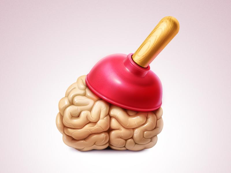 Force your brain! artua icon illustration brain force plunger