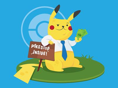 Pikacash flat advertisement design editorial vector illustration pokemon