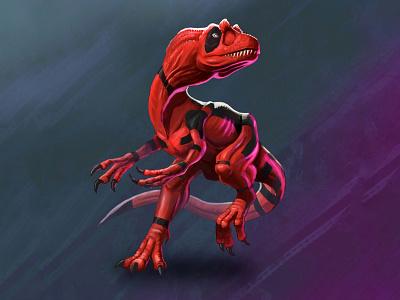 Dinopool deadpool dinosaur concept art design illustration