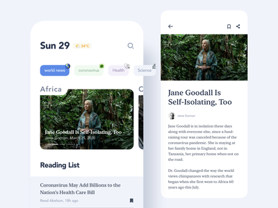 News reading articles newsletter news concept mobile flat app ux ui minimalism
