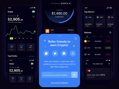 Cryptocurrency Mobile App trade payment card portfolio dashboad sell buy chart crypto exchange wallet crypto cryptocurrency app ux ui