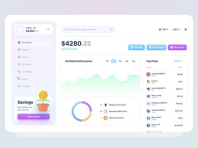 Crypto Dapp webapp ux minimalism ui chart portfolio cash money lending saving payment blockchain wallet crypto cryptocurrency