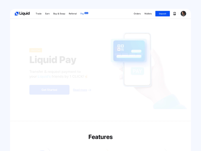 Liquid Pay - Introduction sell buy crypto landing page payment product ux minimalism ui