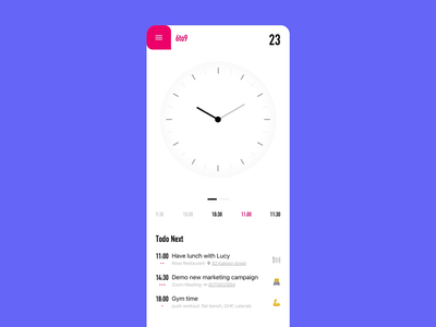 Time list todo task time mobile product app ux minimalism ui