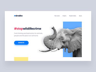 Save Wildlife landing page flat platform website minimalism design ux ui animal wildlife