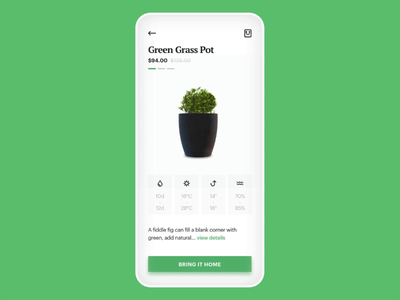 Indoor Plants ui ux app mobile animation design product cart concept minimalism ecommerce plant tree shop payment