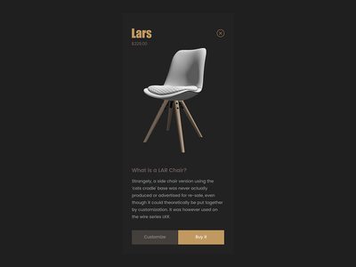 Lars Chair Store ui ux app flat minimalism platform design animation product concept cart ecommerce shop mobile chairs