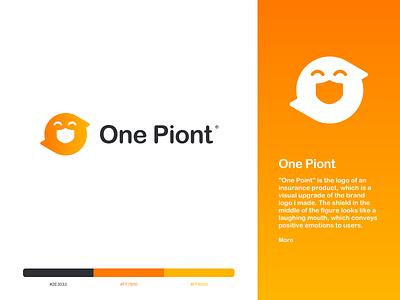 One Point Logo shield smail insurance typography icon vector illustration identity branding sketch logo design