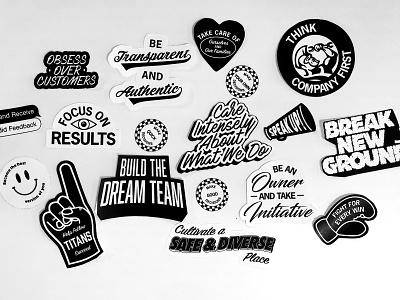 Service Titan Corporate Values branding marketing collateral marketing startup service home services type typography values corporate values sticker set illo illustration stickers