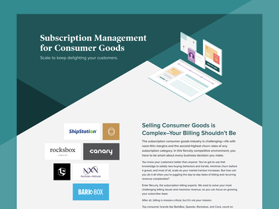 Recurly for Consumer Goods Page subscription management ecommerce consumer goods subscriptions illustration design