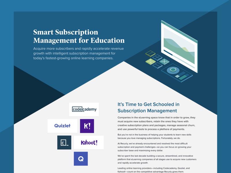 Recurly for Education Page education subscription management subscriptions illustration design