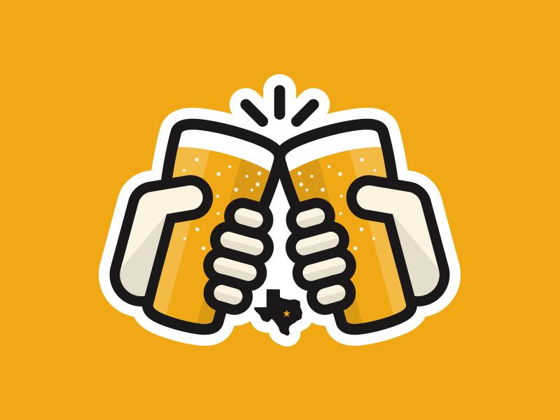 Cheers Yall cheers beer texas hands pint sticker logo