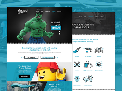 Stoyland Studios // SITE LAUNCH storyland new site website homepage hulk lego icons