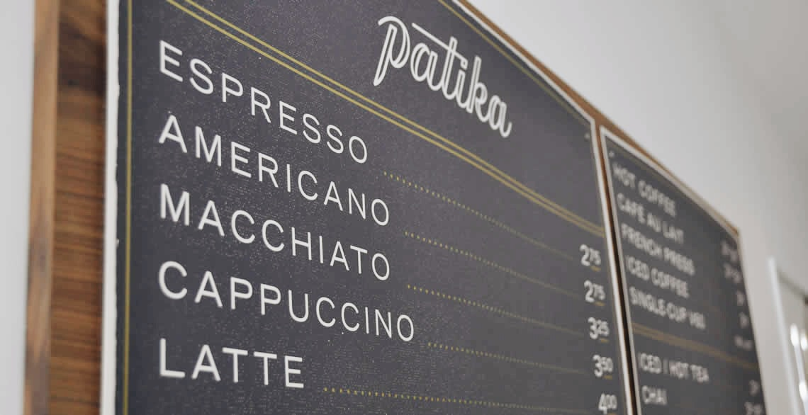 Patika menu board
