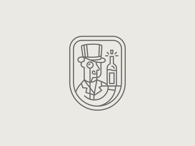 WIP Wine Badge wine badge monocle man logo bottle cork