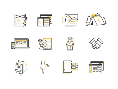 Web & Brand Process Icons wireframe branding logo prototype front-end ia design building ui ux camp