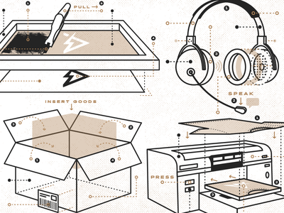 Capability Diagram Illustrations icon screen printing box headphones shirt branding illustration diagram