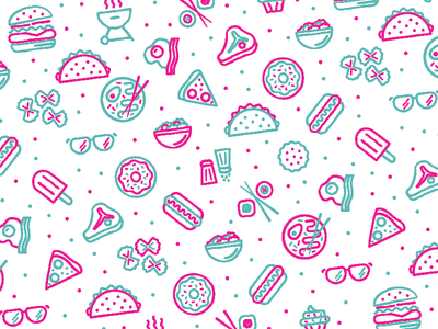 yum pattern steak grill sushi donut pasta cookie glasses hot dog ramen pattern food burger