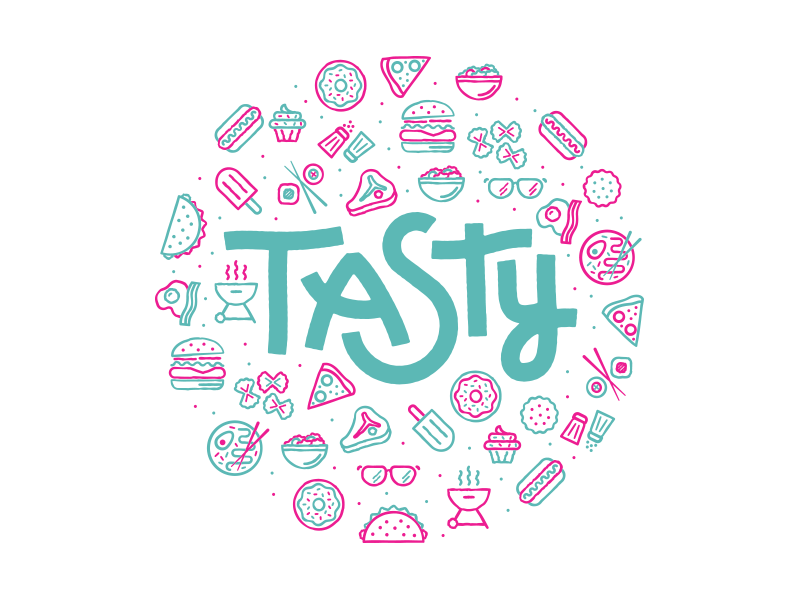tasty lockup pizza donut icon logo tasty burger food