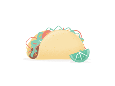 Taco icon food illustration lime taco