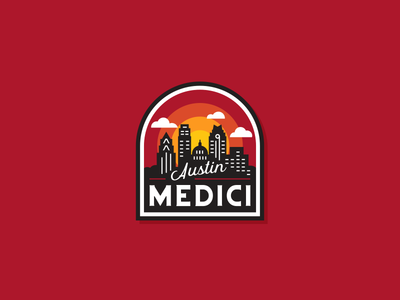 medici badge patch badge buildings skyline texas austin coffee medici