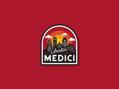 medici badge patch badge buildings skyline texas austin coffee medici