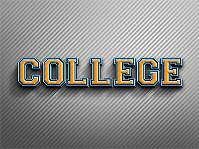 College 3D Text Effect