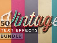 50 Vintage Text Effects Bundle template typography psd photoshop retro vintage effect text 3d