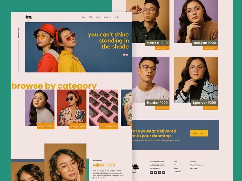 Baobab Eyewear | E-commerce Website vintage eyewear sunglasses retro eyeglasses ecommerce e-commerce ui design