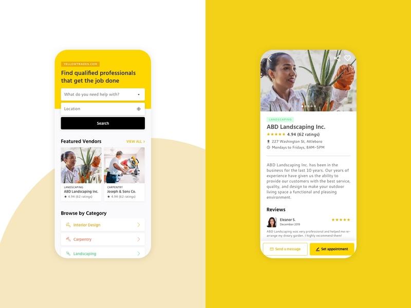 YellowTrades Concept Design mobile worker trades yellow ui design