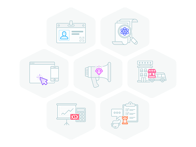 Feature Icons operation finance booking marketing mobile website submission registration illustration icon