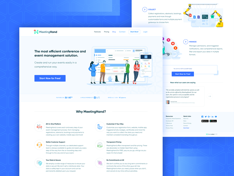 MeetingHand Landing Page icons illustration saas landing page landing page